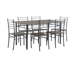 Avec ce set de table et 6 chaises, vous profiterez d'un repas convivial en apportant un design au style industriel à votre intérieur. Dispo pcs détachées donnée fournisseur : NC. Garantie : 2 ans , Pièces Piètement : métal laqué gris aluminium. Alèse : Pl