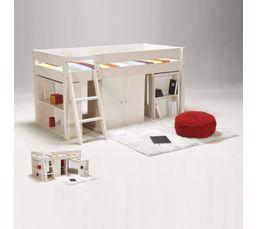 lit combin en bois massif blanchi 90x190 cm toni lits but. Black Bedroom Furniture Sets. Home Design Ideas