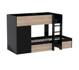 Lit superposé 90x190 cm avec armoire + 2 tiroirs TWIN imitation chêne et noir