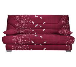 Banquette-lit clic-clac SORAYA Tissu Feuilles Carmin A570