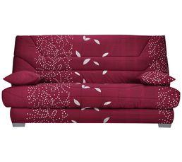 Banquette-lit clic-clac BAYA Tissu Feuilles Carmin A570