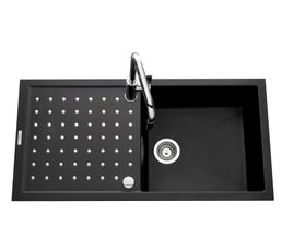 FUSIONSTYL Evier 1 cuve 1 égouttoir EV86011 / Noir