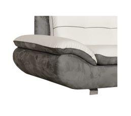 Canapé d'angle méridien.droit MALAGA 2 PU Blanc/Micro.gris souris