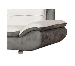 Canapé d'angle méridien.gauche MALAGA 2 PU Blanc/Micro.gris souris