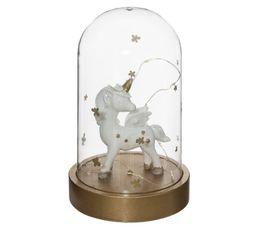 lampe à poser cloche verre LICORNE H. 18, 5 cm