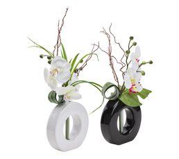 Vase Compo assortis ORCHIDEE Blanc/Noir