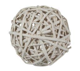 Boule déco Osier 8 cm Blanc