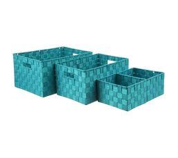 TESSA Set de 4 paniers tréssés Turquoise