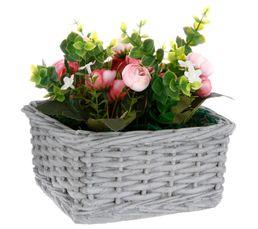 BOHEME NATURE Composition Fleurs artificielles + Panier GRIS