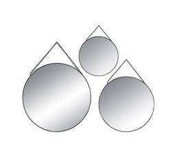 Structure : Métal et miroir. Finition : Noir. Dimensions en cm : D. 20 - D. 24 - D. 29.