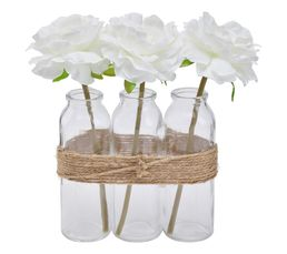 BLANC NATURE Composition roses artificielles + tube en verre H. 23 cm Blanc