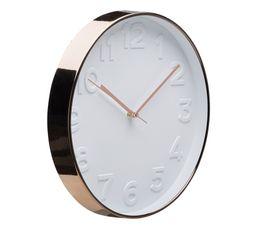 COOPER Horloge ø 30 cm Blanc/cuivre