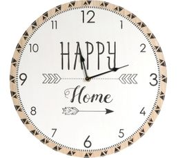 HAPPY CLOCK  Blanc et bois