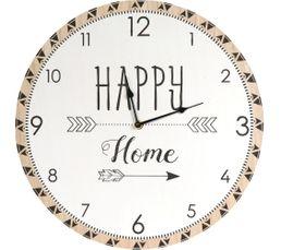 HAPPY CLOCK Horloge diamètre 60 cm Blanc et bois