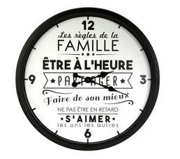 Partagez les règles de la maison grâce à cette horloge ultra moderne Fixer-la en toute simplicité à l'aide de son attache murale Structure : Polypropylène Dispo pcs détachées donnée fournisseur : NC Diamètre en cm : 50 cm Dimensions en cm : L. 50 x H. 50
