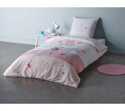 Housse de couette enfant 140X200 cm+ 1 taie d'oreiller LICORNE PRINCESSE
