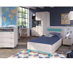 Commode 3 tiroirs 1 niche NIELS Coloris bois clair et bleu