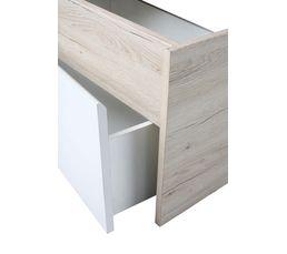Lit 140x190 cm avec 2 tiroirs MOON imitation chêne clair et blanc