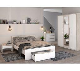 Chevet 1 tiroir APRIL Blanc et chêne pastel