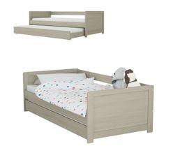 ADELIE coloris gris Lit banquette + tiroir 2x90x190 cm Bois massif
