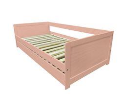 Lit banquette + tiroir ADELIE coloris rose 2x90x190 cm Bois massif