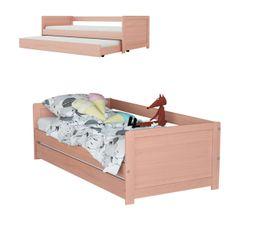 ADELIE coloris rose Lit banquette + tiroir 2x90x190 cm Bois massif