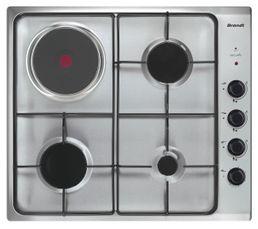 Table de cuisson mixte BRANDT BPE6411XM 60cm 4 foyers Inox