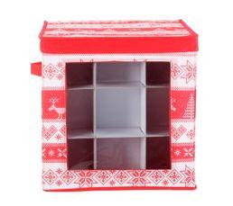 boite rangement boules noel tradi rouge blanc boites de. Black Bedroom Furniture Sets. Home Design Ideas