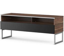Meuble TV L.120 cm GENOVA Bois foncé/noir