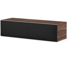 Meuble TV L.120 cm PHILADELPHIE Bois foncé/noir