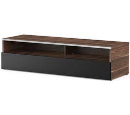 Meuble TV L.120 cm MIAMI Bois foncé/noir