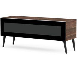 Meuble TV L.120 cm SOLNA Bois foncé/noir
