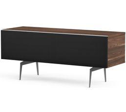 Meuble TV L.120 cm CANBERRA Bois foncé/noir