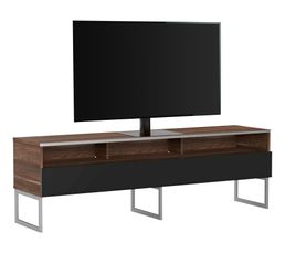 Meuble TV L.160 cm GENOVA Bois foncé/noir