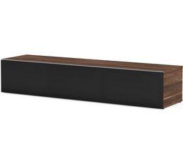 Meuble TV L.160 cm PHILADELPHIE Bois foncé/noir