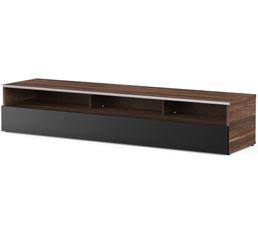Meuble TV L.160 cm MIAMI Bois foncé/noir