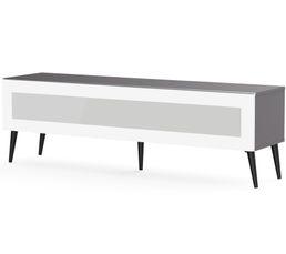 Meuble TV L.160 cm SOLNA Gris/blanc