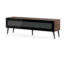 Meuble TV L.160 cm SOLNA Bois foncé/noir