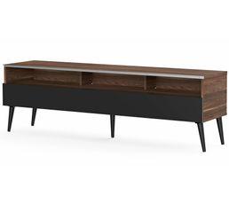 Meuble TV L.160 cm NACKA Bois foncé/noir