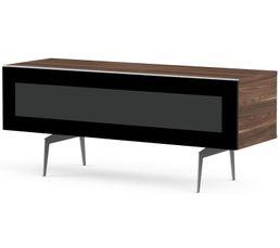 Meuble TV L.160 cm BRISBANE Bois foncé/noir