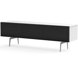 Meuble TV L.160 cm CANBERRA Blanc/noir