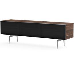 Meuble TV L.160 cm CANBERRA Bois foncé/noir