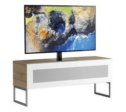 Meuble TV L.120 cm NAPOLI Bois clair/blanc