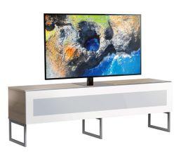 Meuble TV L.160 cm NAPOLI Bois clair/blanc