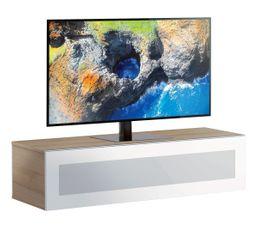 Meuble TV L.120 cm MEMPHIS Bois clair/blanc