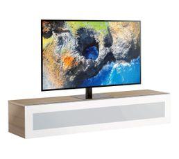 Meuble TV L.160 cm MEMPHIS Bois clair/blanc