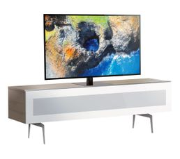 Meuble TV L.160 cm BRISBANE Bois clair/blanc