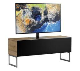 Meuble TV L.120 cm MODENA Bois clair/noir