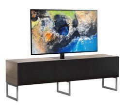Meuble TV L.160 cm MODENA Bois clair/noir