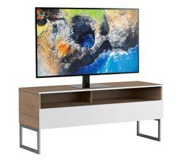 Meuble TV L.120 cm GENOVA Bois clair/blanc